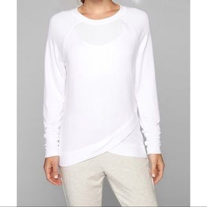 Athleta White Criss Cross Sweater Size M